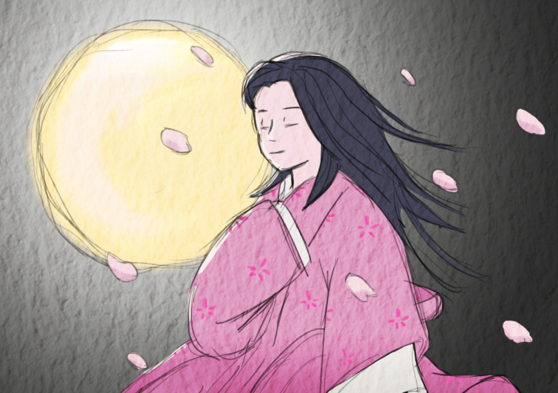 Le Conte De La Princesse Kaguya Touchante Estampe L
